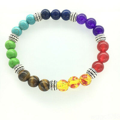 Multicolor Chakras Natural Agate Amethyst Colorful Beads bracelet Yoga Healing