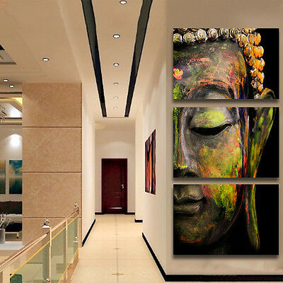 3pcs Buddha's Head Painting Unframed Canvas Art Print Wall Picture Home Decor