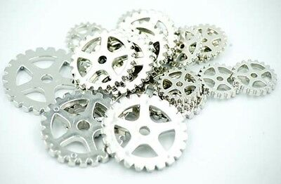Embellishments-Sewing-Crafts-Vintage-STEAMPUNK SILVER EFFECT COGS 20 PACK