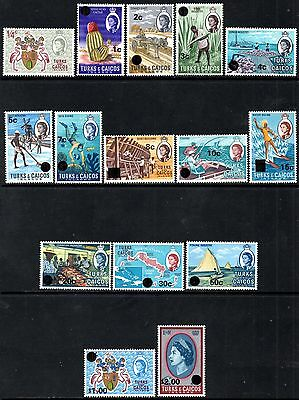 Turks & Caicos Islands 1969 Decimal Currency Surcharge Issues SG297/311*Mint MNH