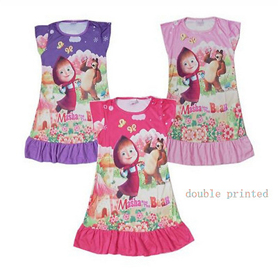 Kids Masha and the bear Top T Shirt Dress Nightwear Nightdress Pyjamas clothes