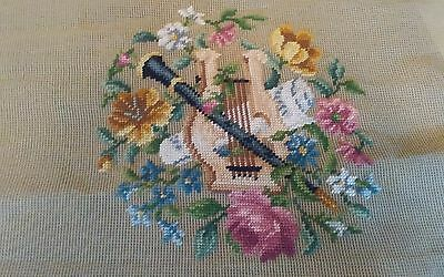 "Vtg set 4 Bucilla preworked needlepoint chair canvases harp floral 23x23"" NEW"
