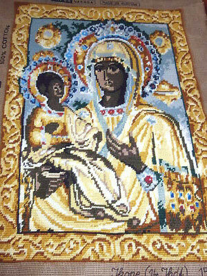Tapex Austria Handprinted Needlepoint black Madonna Child Icon 18x13 finished