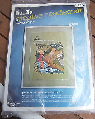 Vtg Bucilla creative Needlecraft embroidery kit Angels of God 2054 18 by 22 NEW
