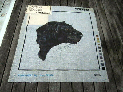Vintage Black Panther needlepoint canvas only Tina of California Ann Tush 15x15