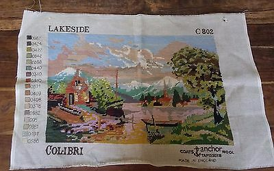 Vtg Colibri Anchor England needlepoint Lakeside 802 completed 20x13