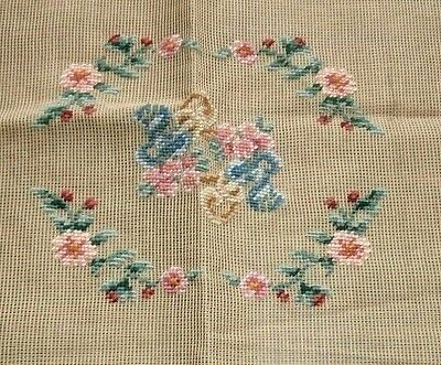 Vintage Dritz preworked needlepoint canvas pink floral 16x21 NEW