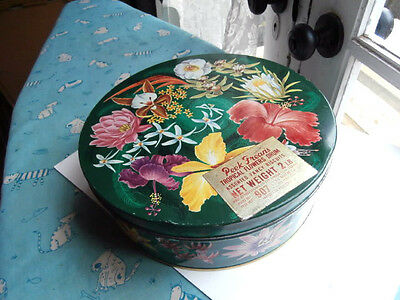 Vintage Rare Peek Freans Tropical Flowers biscuit tin drum10 inches