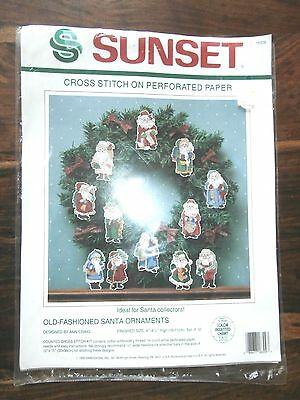 Vtg Sunset Cross Stitch on Paper 18309 Old Fashioned Santa Ornaments 4 inches