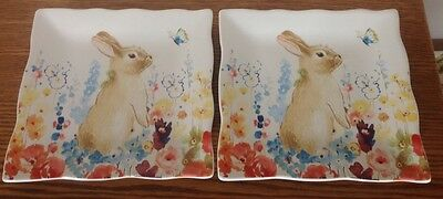 2 Easter Bunny Square Salad Plate Flower Field 222 Fifth Rabbit Spring Butterfly