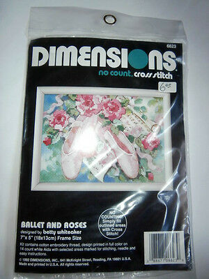 Vintage Dimensions no count cross stitch kit 6623 Ballet and Roses NEW