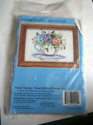 Vtg Candamar Pansy Teacup 4002 Embroidery Kit NEW