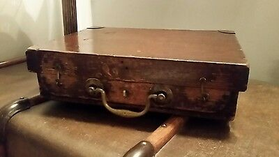 Vintage Wooden Instrument Case Brass Handle Decorative Storage Briefcase Pistol