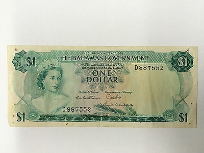 1965 Goverment Of Bahamas One Dollar Note ~ Beautiful