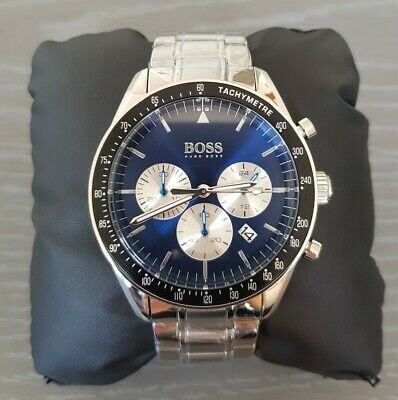 New Hugo boss blue dial trophy chronograph wrist watch 1513630 stainless steel