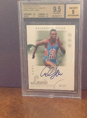 2014 SP Authentic Tiger Woods 01 Tribute Carl Lewis Auto BGS Gem Mint 9.5 #4/10