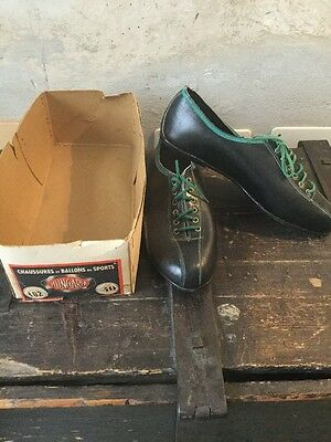 Hungaria Vintage Shoes Soccer Cycling Leather 1940s 1950 S RARE NOS SCORTE MORTE