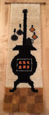 """Potbellied Stove Wall Hanging Hearth Hook & Latch Retro 57"""" Synth Fiber Wood Rod"""