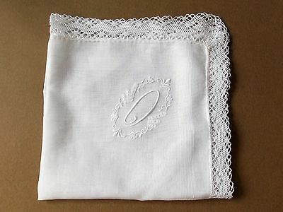 """Vintage 1960s Lace Edged White Embroidered Cotton Handkerchief- """"O"""" Initial"""