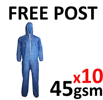 10 Disposable Coveralls Overalls Boilersuit Hood Painters Protective Suit (BLUE)