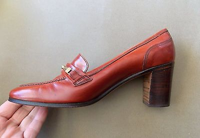 "NEW Vintage 1970s Farnesina Italian Brown All Leather Women's Shoes- 2.5 "" Heel"