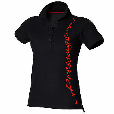 Horse Riding Polo Shirt Ladies Women's Girls Black Equestrian DRESSAGE