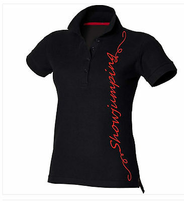 Horse Riding Polo Shirt Ladies Women's Girls Black Equestrian SHOWJUMPING