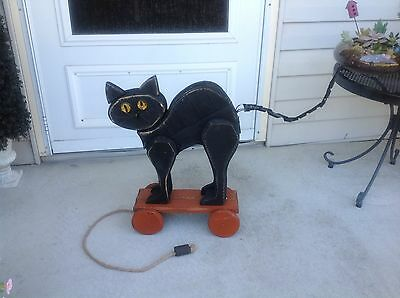 Wooden Black Cat Pull Toy Decor Distressed Primitive Porch Garden Halloween NWOT