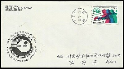 Table Tennis,Ping Pong,Sports,Intl.Table Tennis Championships,Korea 1982 FDC 4