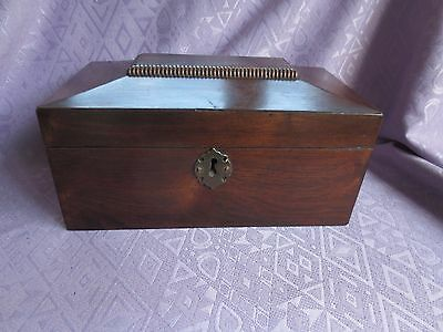 Georgian Sarcophagus Mahogany Tea Caddy or Sewing Box