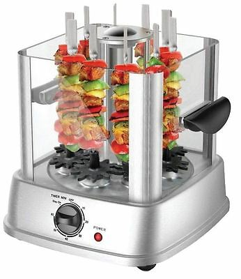 Vertical Electric Grill Chicken Kebab Maker Meat Vegetable Machine + 10 Skewers