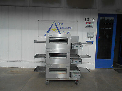 Lincoln Triple Stack 1100 Series Natural Gas Pizza Conveyor Oven  #2285
