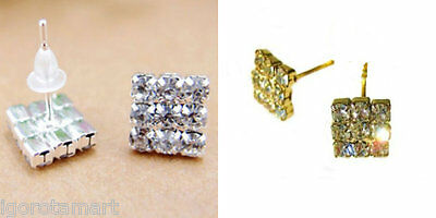 Gold / Silver Gem Cubic Zirconia 8mm Square Stud Hip Hop Bling Men's Earrings
