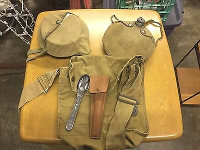 Vintage Boy Scout mess kit, canteen, Eating Utensils And Haversack