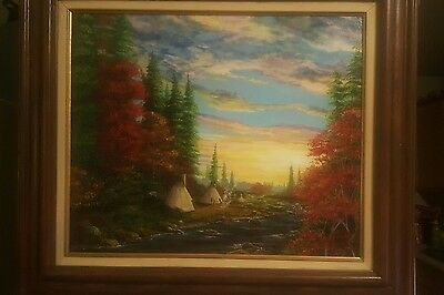 LQQK. BEAUTIFUL American Western  Indian village Landscape Oil painting.