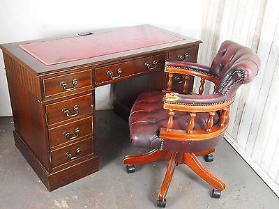 An Antique Style Mahogany Red Leather Topped Computer Desk ~Delivery Available