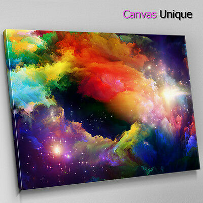 Ab357 Coloured Galaxy Space Trippy Abstract Canvas Wall Art