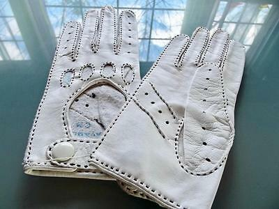 Unused French Gant Perrin White Leather Wrist Driving Gloves Perforated 6-1/2
