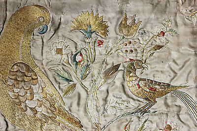 Antique Pretty Early 18thC Period Silkwork Picture of the Tree of Life c.1700-20