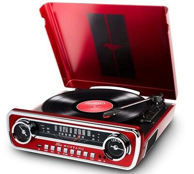 ION 1965 FORD MUSTANG LP Car-Styled Turntable Record Player w/ AM/FM Radio RED