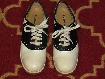 Vintage Black White Shoes Saddle Oxfords 6.5B 6-1/2 B