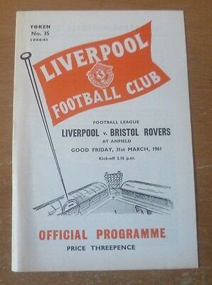 Liverpool v Bristol Rovers, 1960/61 - Division Two Match Programme.