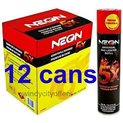 Neon 5x (12 pack) box Gas Refill Butane Universal Fluid Fuel  Refined 300ml