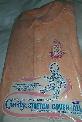 New VTG NOS Clown Curity Baby Cover All Pj Romper 1 Pc Outfit 0-12M Stretch