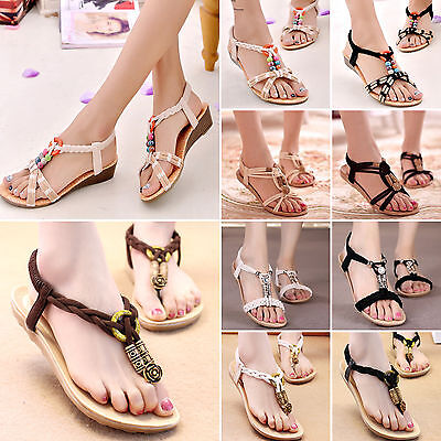 Summer Bohemia Women Flat Slippers Sandals Beach Thong Shoes Casual Flip Flops
