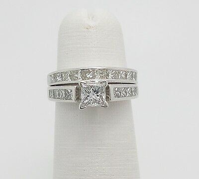 Zales 2CT Princess Cut Diamond Engagement Wedding Ring Set 14K White Gold