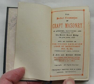 Masonic 1918 Book - 'the Perfect Ceremonies Of Craft Masonry' Small Leather Book