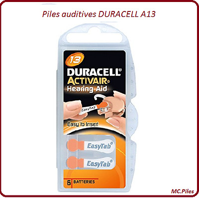 Lot de piles boutons auditives Duracell appareils auditifs A13, de 1 à 60 piles