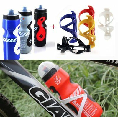 750ml Plastic Water Drink Bottle + Holder Cage For MBT Cycling Bicycle Bike UK