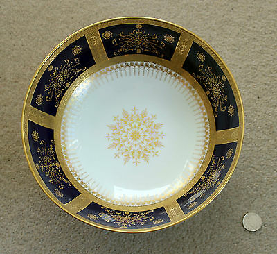 Coalport : Heavily Gilded Footed Bowl With Gold and Cobalt Blue